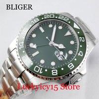 Luxury Green Dial GMT Function Self Winding Men's Watch Date Indicatore Sapphire Glass 40mm Wristwatch
