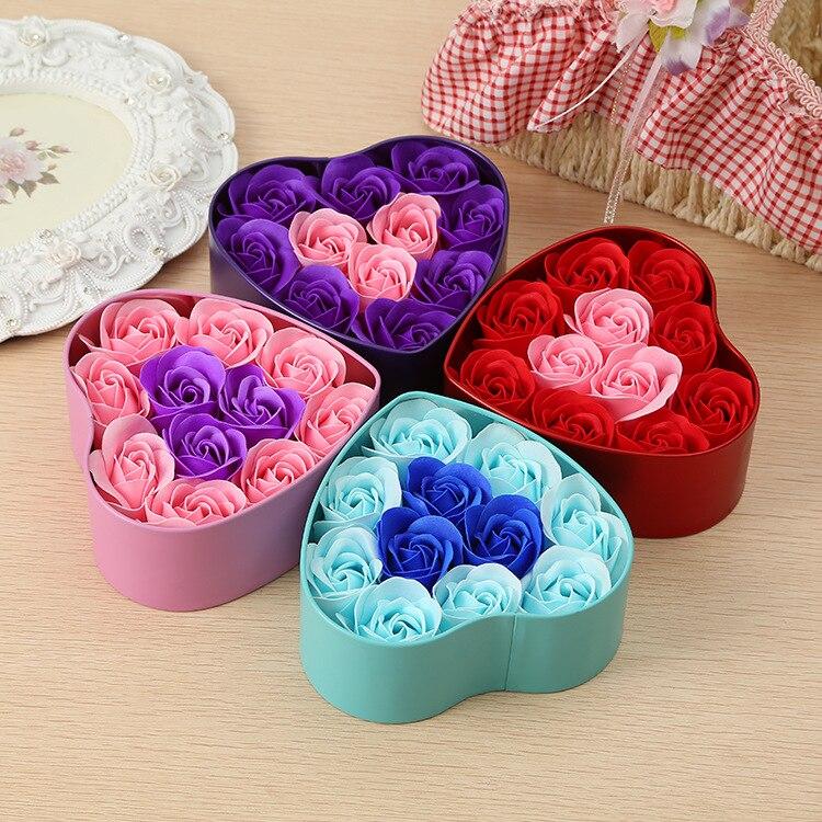 Caja de rosas de espacio rosa, regalo del Día de San Valentín, rosa roja, flores artificiales, rosas decorativas, decoración para mujeres, regalos de flores