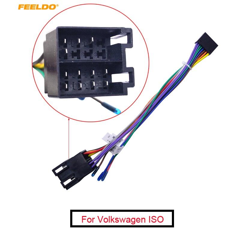 FEELDO 1PC 16P Car Head Unit Wire Harness Adapter For Volkswagen ISO OEM Car Radio Harness #FD2054