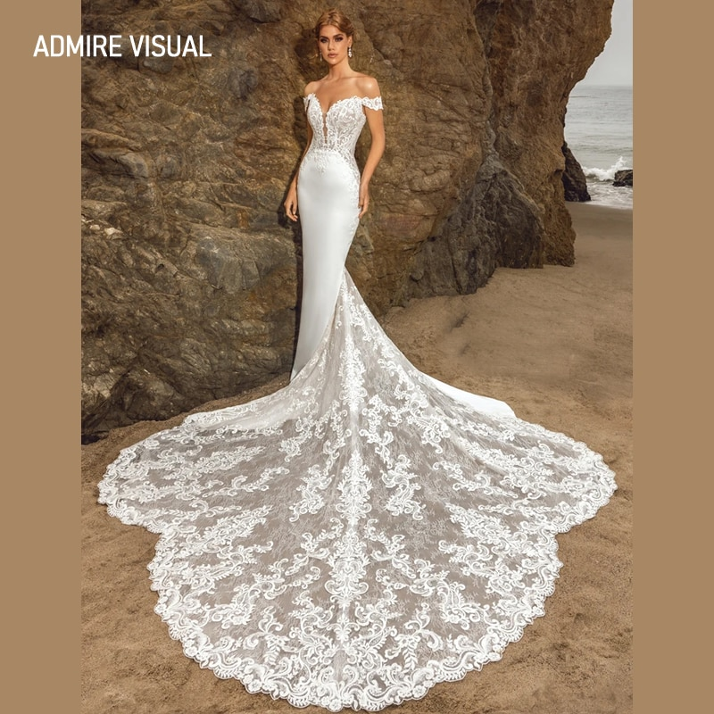 أحدث فستان زفاف حورية البحر الدانتيل العميق الخامس الرقبة العنق مخصص حجم كبير ثوب العروس 2021 Vestidos De Novia