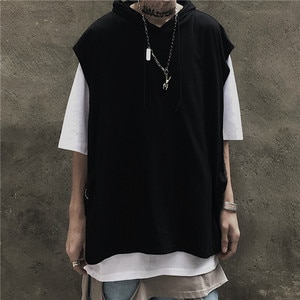 Techwear Fake Two Pieces Hooded Black And White Hip Hop Tops Tees Casual T-shirts Autumn High Street Tshirts Streetwear Pullover