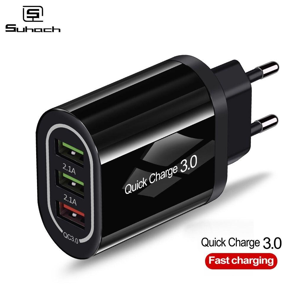 Быстрое зарядное устройство Suhach 3,0 USB для iPhone Xr samsung S10 Xiaomi huawei быстрое зарядное устройство QC 3,0 дорожное настенное зарядное устройство для мобильного телефона