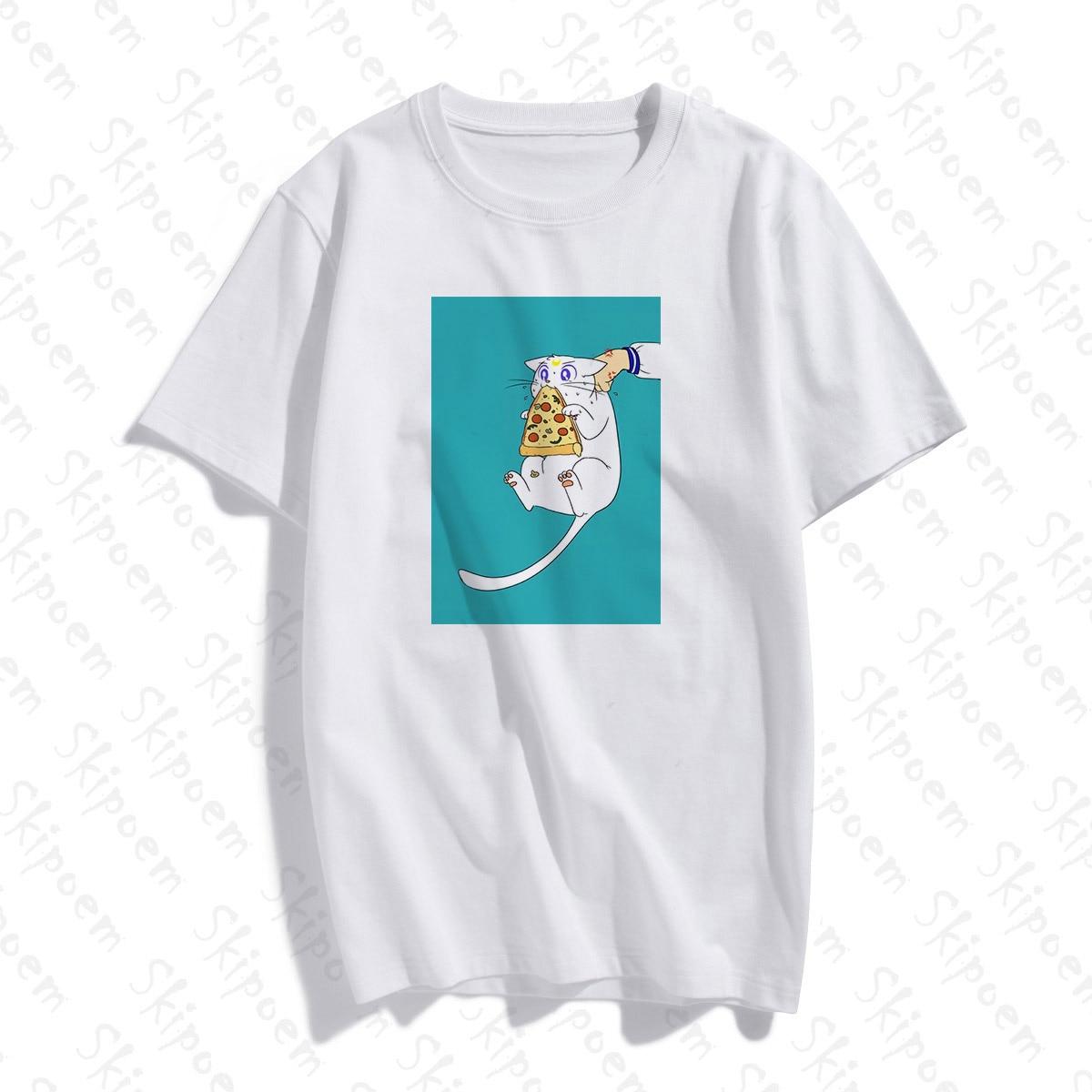 Bonito marinheiro lua tshirt feminino estético punk estilo coreano do vintage kawaii algodão plus size manga curta camiseta femme topo t