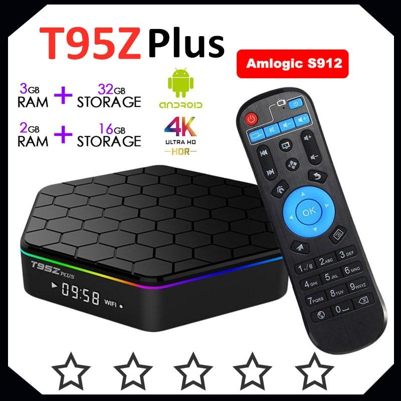T95Z زائد caixa مربع التلفزيون الذكية 2GB/16GB 3GB32GB amlogic s912 رقاقة ثماني أندرويد 7.1 صندوق التلفزيون 2.4G/5GHz واي فاي BT4.0 4K مجموعة صندوق فوقي