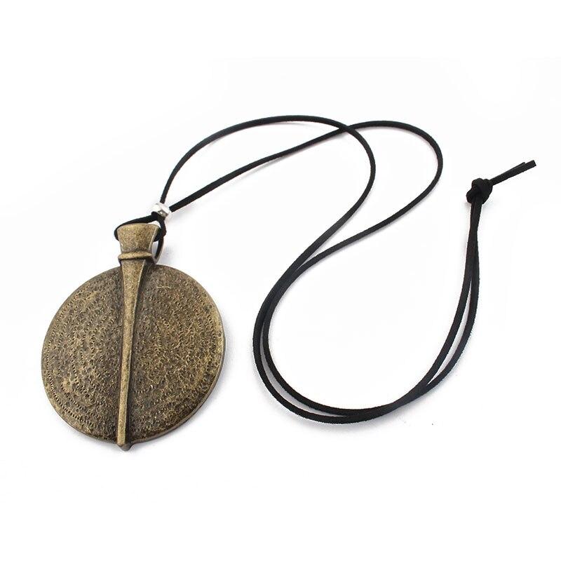 1 pièces marron Verdigris/argent couleur grand médaillon rond pendentif longue corde chaîne velours cordon collier bijoux 95cm