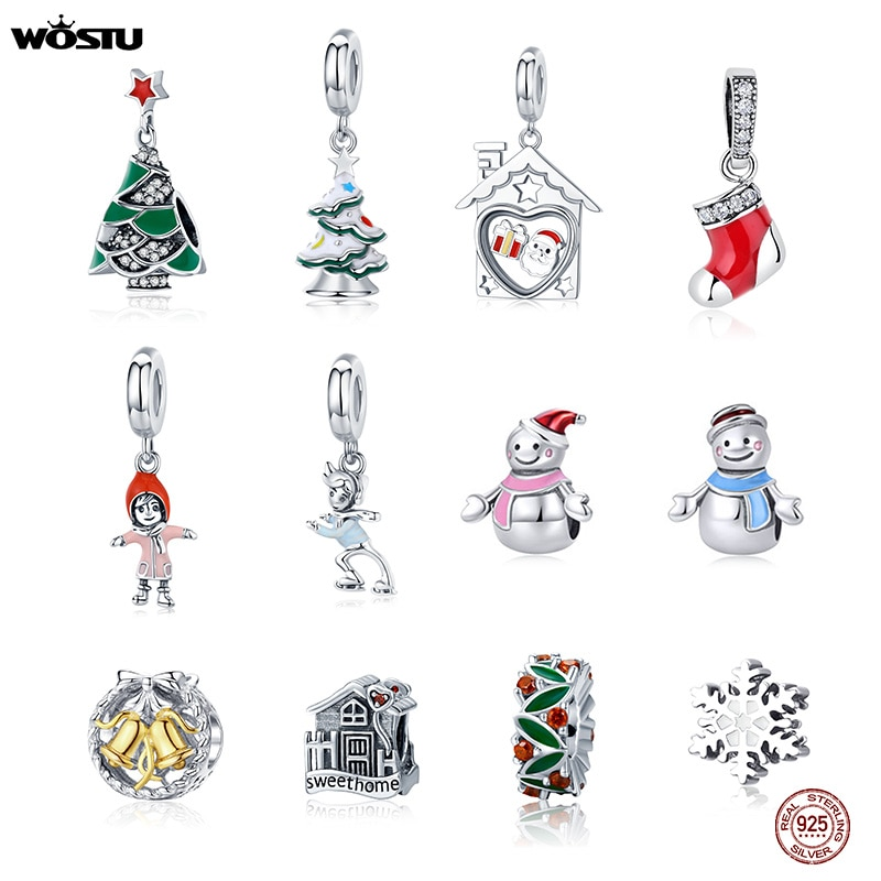 Wostu 925 prata esterlina contas de árvore de natal papai noel boneco de neve floco charme caber pulseira original pingente jóias presente