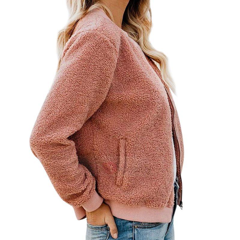 Women Warm Pocket Cashmere Fabric Jacket Zip Up Round Neck Overcoat Winter Solid Color Female Coat