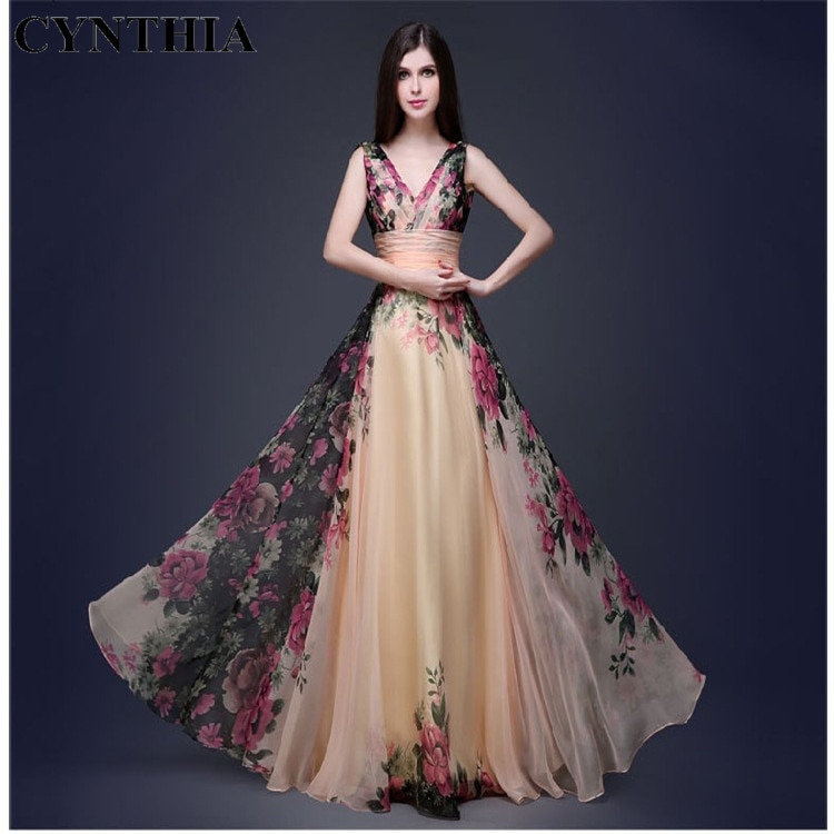 CYNTHIA 2020 New Spring WOMENS Dress Elegant Elegant Shoulder Flower Dress Long Elegant Fashion