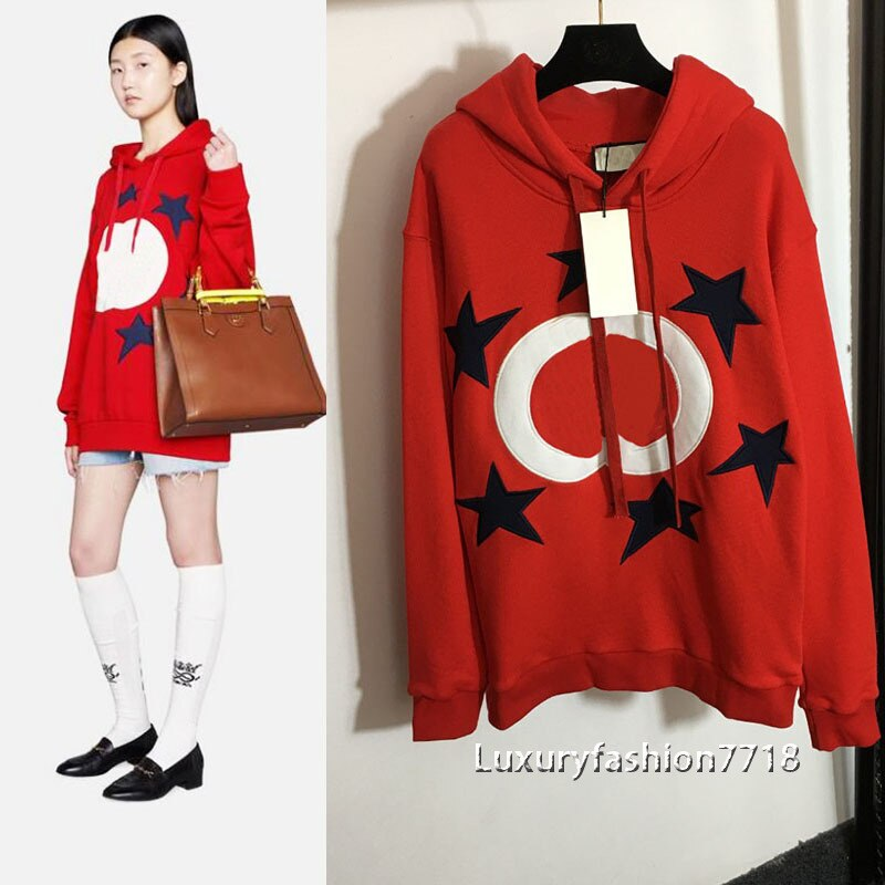 Luxury design fashion high end 2021 new women clothes Five pointed star embroidered letters long sleeve woman Hoodie Sweatshirts