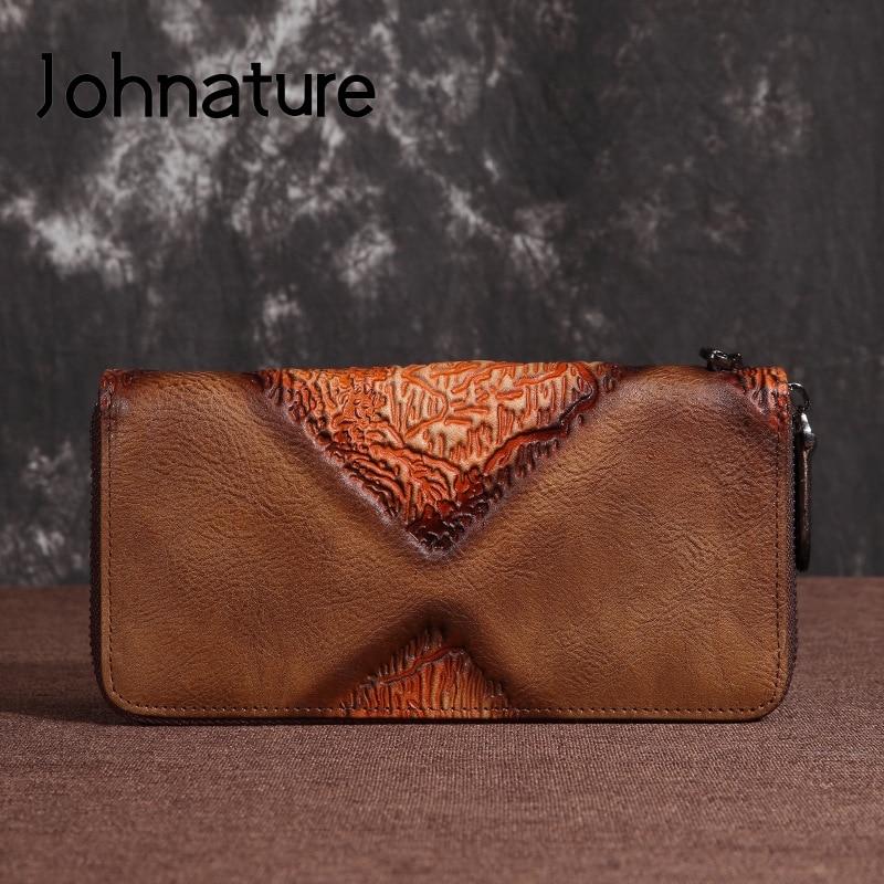 Johnature retro couro feminino carteira titular do cartão 2020 novo lazer artesanal genuíno longo embreagem carteiras telefone bolsa