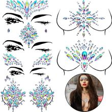 Mascarade visage décoration bijoux à bricoler soi-même acrylique strass Festival fête temporaire tatouage mode visage autocollants pour les femmes