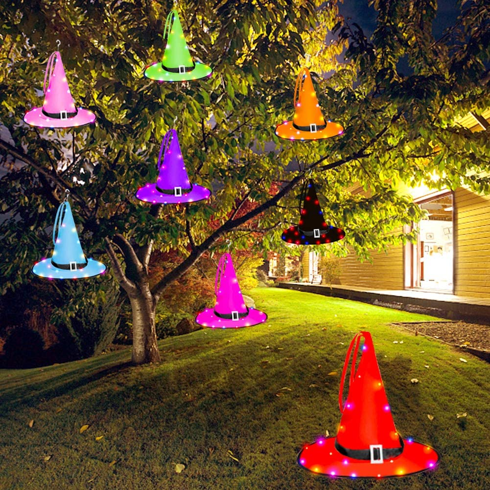 8 Colors Witch Halloween Outdoor Decor Lights Battery Operated Hanging Lighted Glowing Witch Hat Decor for Outdoor Yard Tree Q30