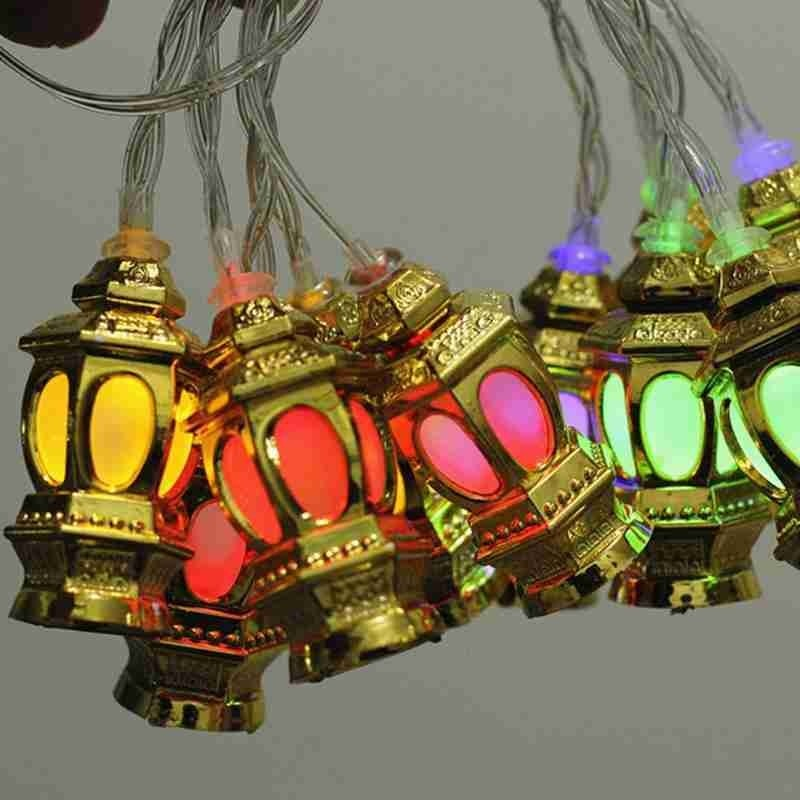 10 LED Islamic Eid Ramadan Light String Muslim Lantern Fairy Lights For Temple Home Golden Garland Festival Party Supplies