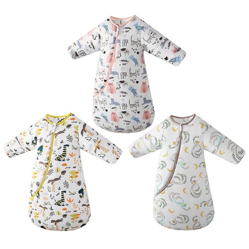حقيبة نوم للأطفال بأكمام طويلة قابلة للفصل ، حقيبة نوم دافئة وناعمة يمكن ارتداؤها ، الخريف والشتاء