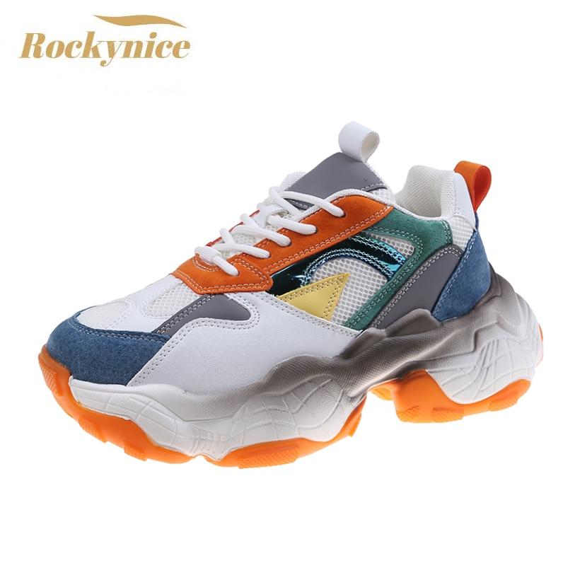 Women Chunky Sneakers New 2021 Platform Fashion Autumn Breathable Mesh Vulcanized Shoes Comfort Runn