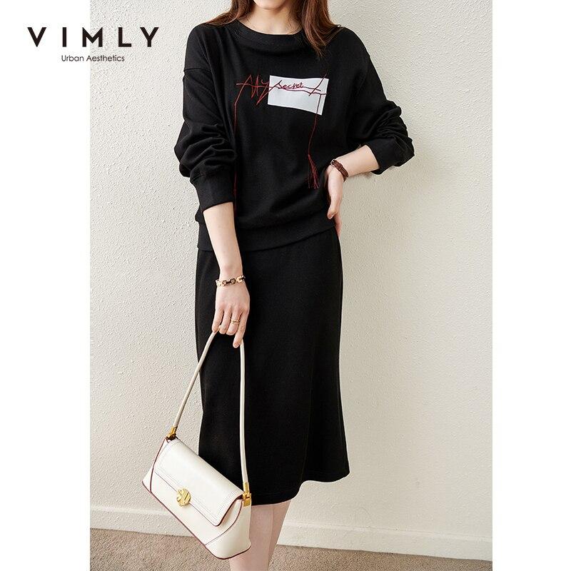 VIMLY النساء البلوز مجموعة أزياء طباعة جولة الرقبة هوديس عالية الخصر ألين تنورة عارضة الملابس مجموعة الإناث 2 قطعة مجموعة F6570