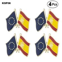 EU & Spain Friendship Flag Pin Lapel Pin Badge  Brooch Icons 4PC