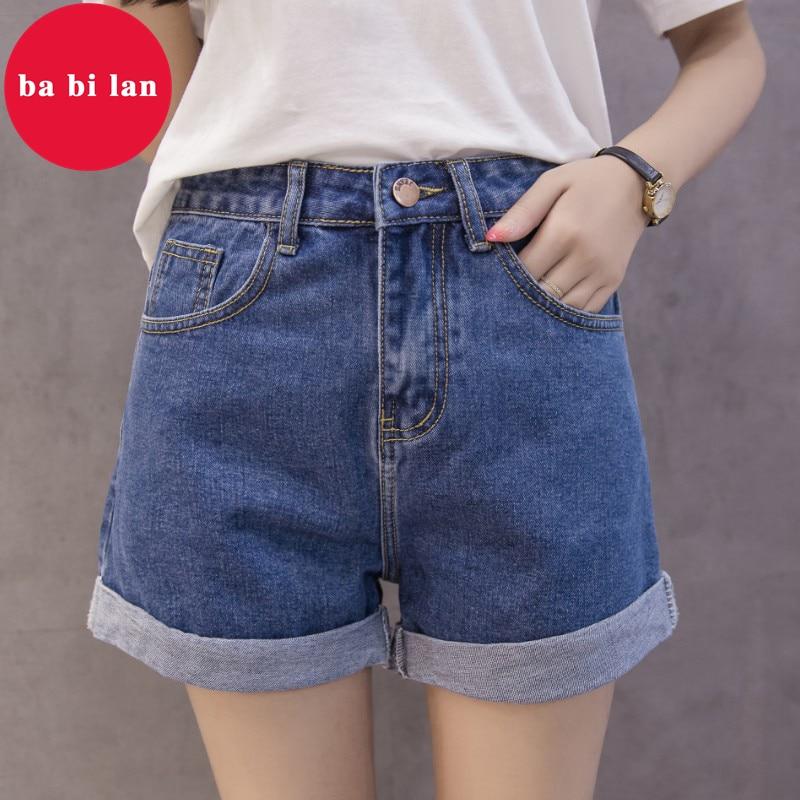 ¡Novedad de 2020! Pantalones cortos de mezclilla ba bi lan Vintage de cintura alta, pantalones cortos informales de estilo coreano para mujer, pantalones cortos sexis cortos de verano para mujer