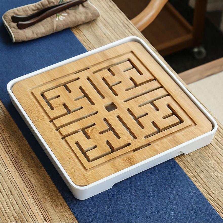 Dropshipping pequena bandeja de chá do agregado familiar kung fu chá conjunto redondo chá mar água armazenamento seco bandeja bolha simples mesa chá de bambu