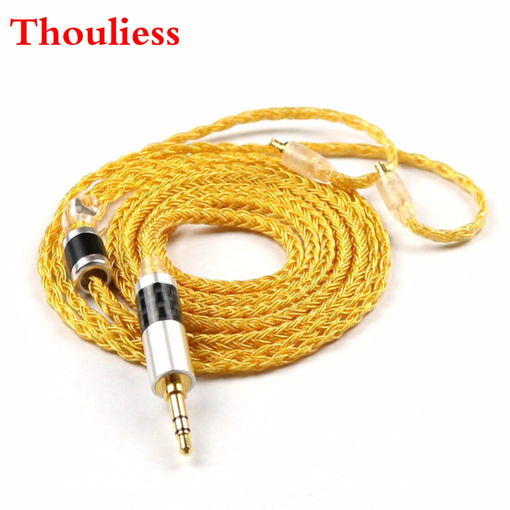 Thouliess 16 núcleos A2DC jack Cable de enchufe de 3,5mm Cable de actualización para CKR100 CKR90 CKS1100 LS50 E70 auriculares