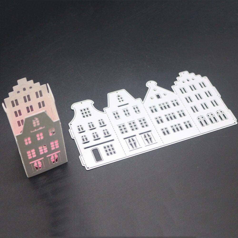 Pochoir en métal découpée   Cadre darchitecture 3D, matrices de découpe, décoration de bâtiment, pochoir Scrapbooking, gaufrage, timbres et matrices artisanaux nouveaux