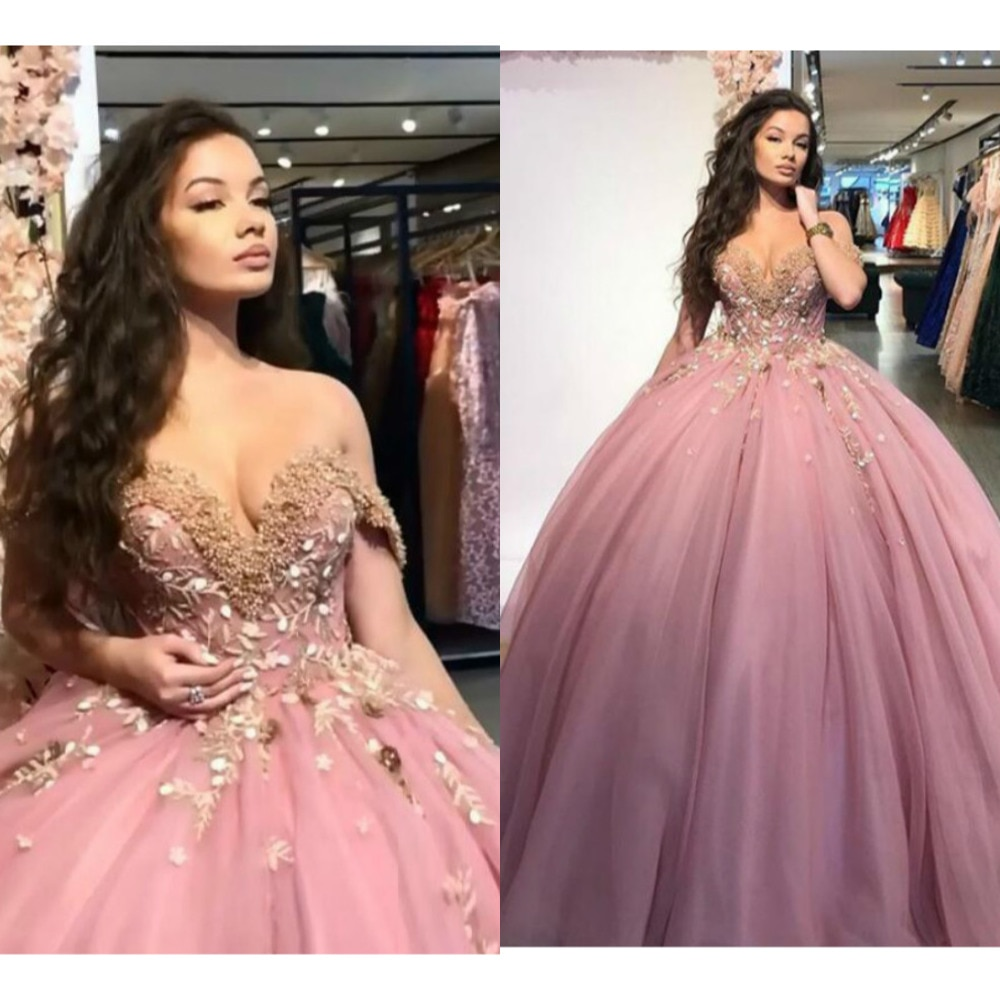 Princess Dusty Pink Ball Gown Quinceanera Dresses Off The Shoulder Tulle Sleeveless Sweet 16 Dresses Applique Beaded Vestido