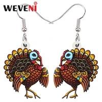 weveni thanksgiving acrylic cute cartoon turkey chicken earrings fashion long drop dangle jewelry for women girls teens gifts