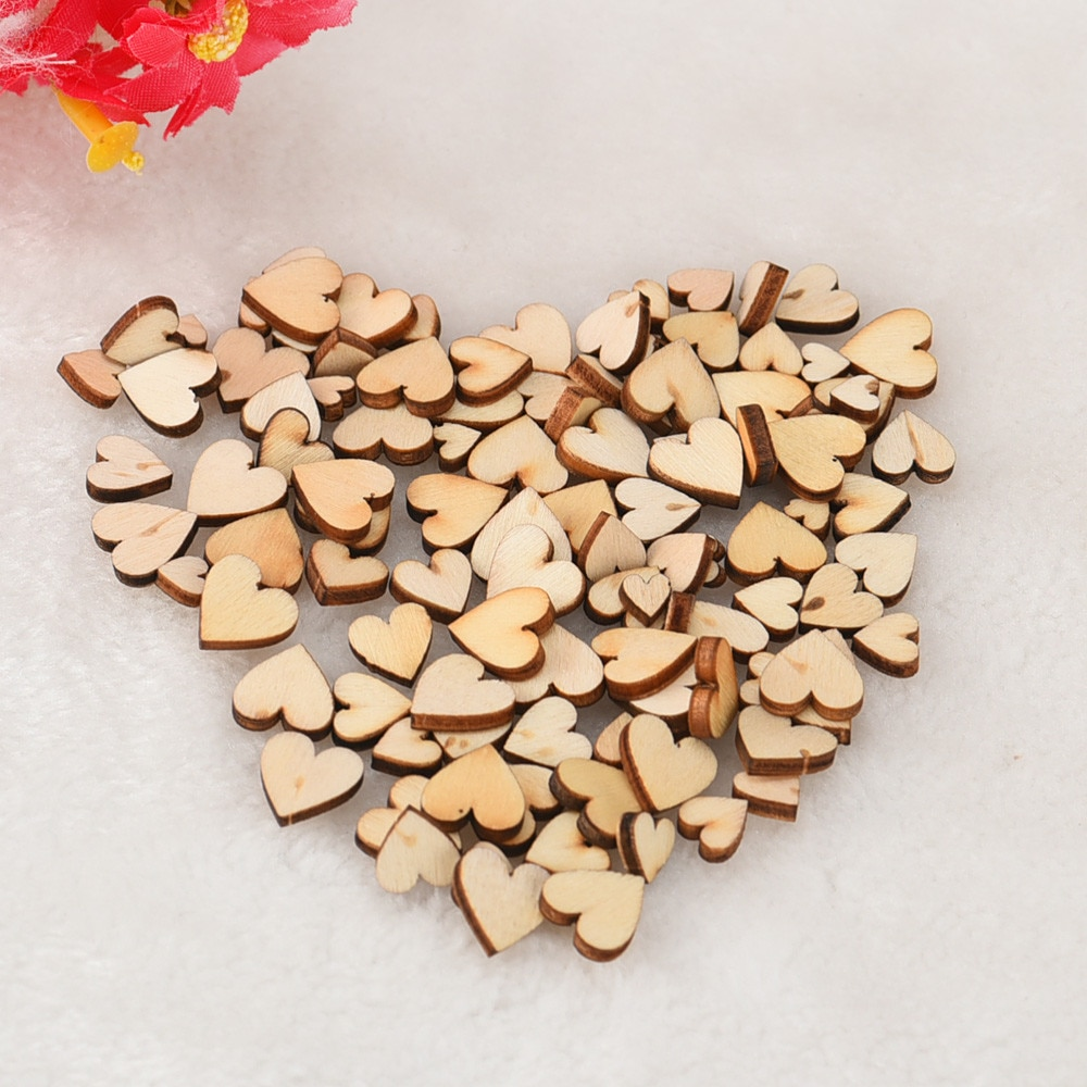 100Pcs Mixed Rustic Wooden Love Heart DIY Party Supplies Blank Heart Wedding Ornaments Crafts DIY