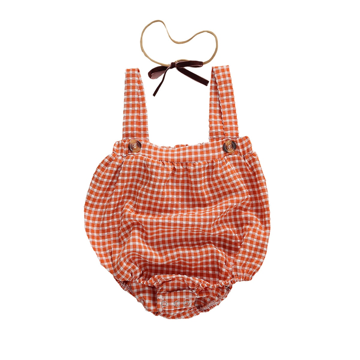Baby Girls Romper Cotton Sling Loose Plaid Pattern Cute Style Button Closure Jumpsuit Patchwork Romp