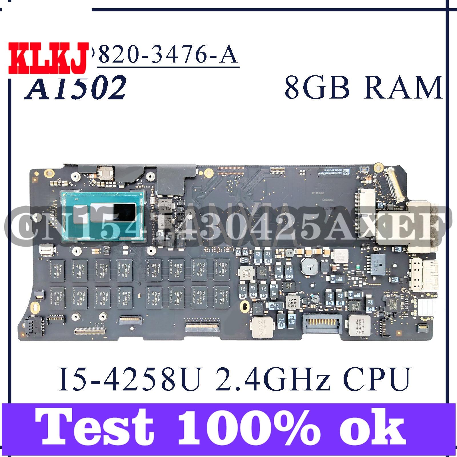 KLKJ 820-3476-A اللوحة الأم لأجهزة الكمبيوتر المحمول أبل A1502 اللوحة الرئيسية الأصلية 8GB-RAM I5-4258U 2.4GHz وحدة المعالجة المركزية