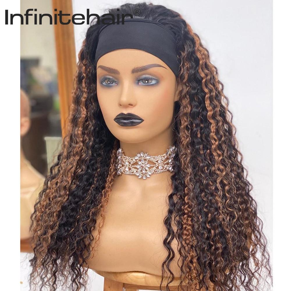 Brazilian Highlight Deep WaveHeadband Glueless Scarf Remy Human Hair Wigs Full Machine Made for Black Women Beginner Friendly