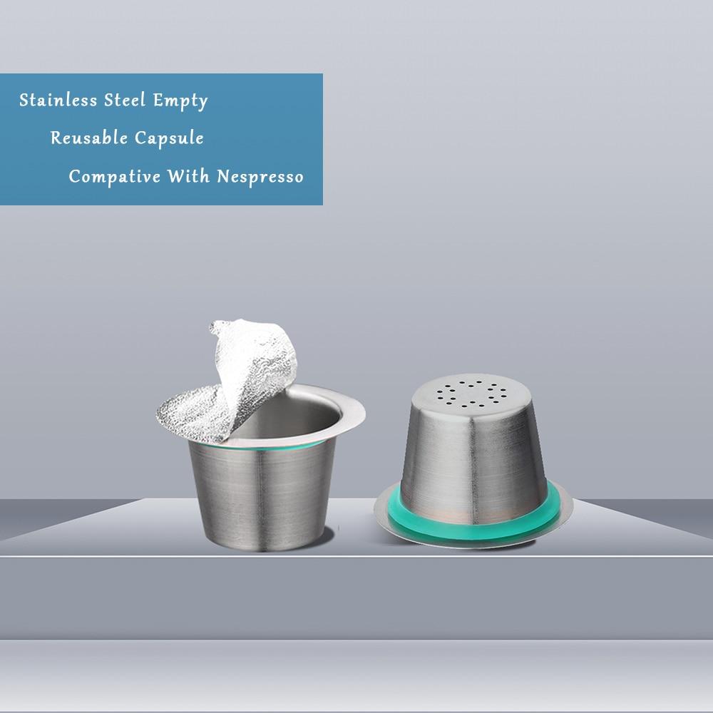 Cápsulas reutilizables de acero inoxidable, cápsulas de café Nespresso reutilizables, filtros de café Nespresso, 10 cápsulas, 100 unidades