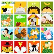SDOYUNO-peinture avec numéros 20x20cm   Pour enfants, images bricolage avec numéros et animaux, décoration de maison sans cadre, cadeau pour enfants