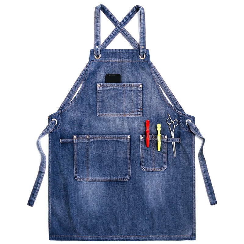Waterproof Denim Aprons for Kitchen BBQ Studio Adjustable Stain-Resistant Pinafore with Two Pockets enlarge