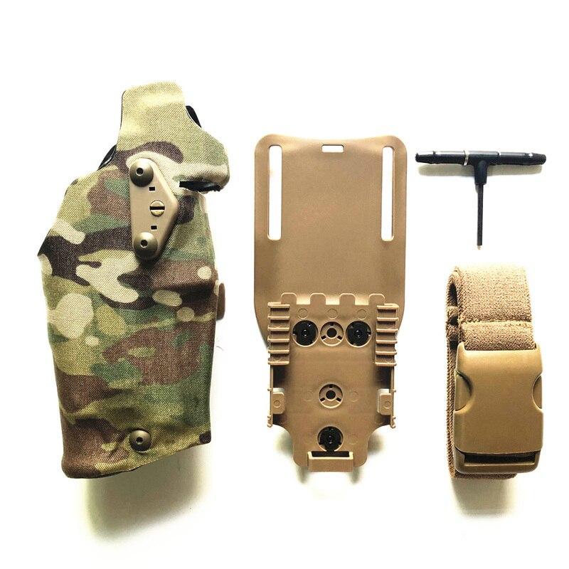 TMC Glock17 pistolera táctica pistolera X300 Light-Compatible con G17/18 con QL soporte Panel adaptador pierna cubierta caída