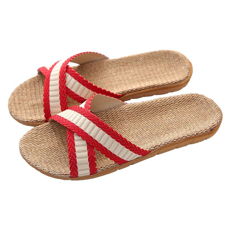 Men Women Flax Slippers New Summer Indoor Shoes Home Female Open Toe Linen Belt Slides Female Sandals Flip Flops Dropshipping