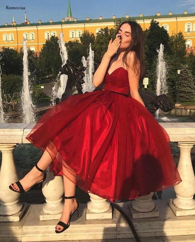 Red Short Ball Gown Prom Dresses 2020 Strapless Sleeveless Tea Length Evening Party Dresses Formal Gowns Vestido de festa Custom