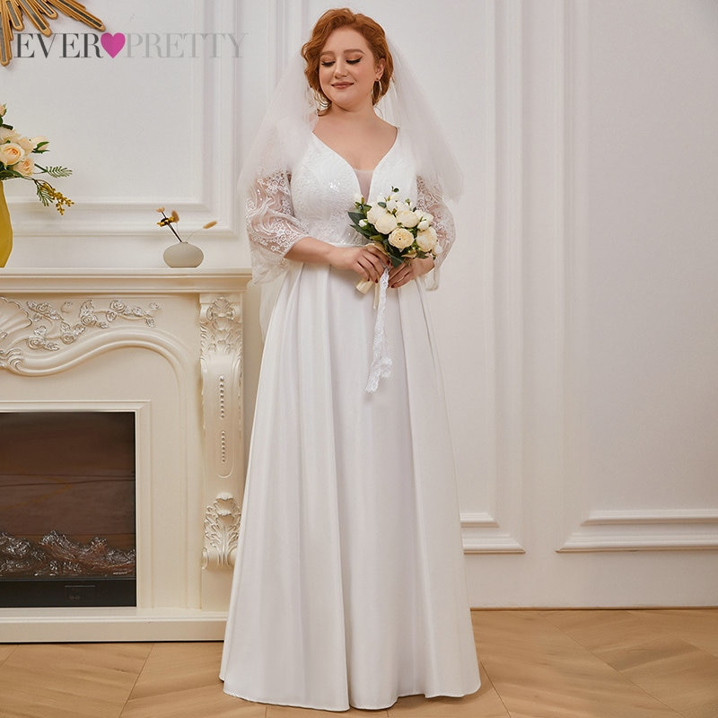 A Line Wedding Dresses Plus Size Women V-neck Embroidery Elegant Wedding Party Dress Bridal Gown EH00233CR Свадебное Платье 2021