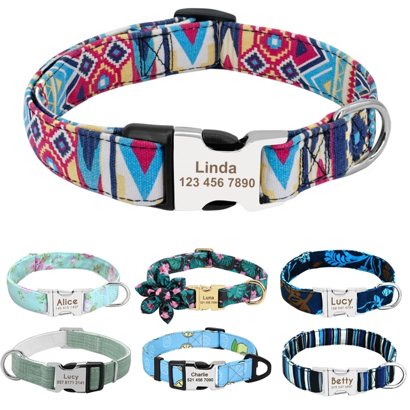 Personalized Dog Collar Nylon Print Dog Collars Customized Puppy Pet Collar Engraved Name ID for Small Medium Large Big Dogs Pug personalized dog collar nylon print dog collars customized puppy pet collar engraved name id for small medium large big dogs pug
