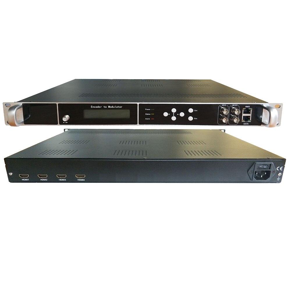 Codificación y modulación de alta definición 4CH HDMI todo en uno a (DVB-T / C / ATSC / ISDB) RF, IP / ASI. Extremo frontal de TV por cable de Hotel