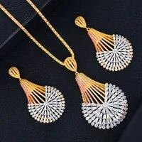 missvikki luxury dubai 2pcs big shiny round pendant earring necklace jewelry set super cz bridal wedding new design accessories