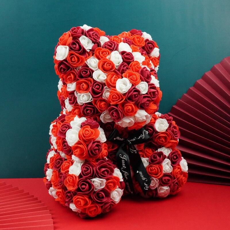 دبدوب من البولي إيثيلين الوردي ، 40 سنتيمتر ، زهور وهمية ، لحفل الزفاف ، لعيد الحب ، للمنزل ، 2021