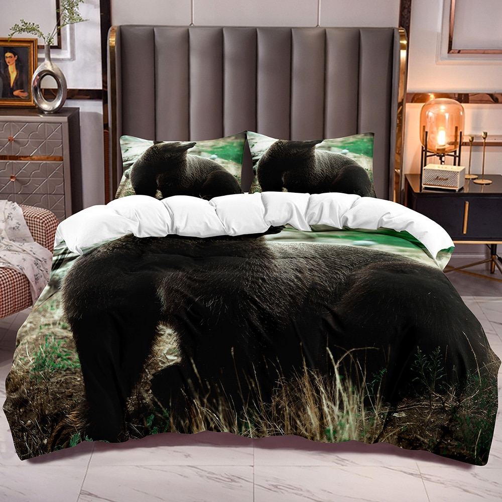 الحيوان موضوع حاف الغطاء مع الدب البني ثلاثية الأبعاد طباعة طقم أغطية المعزي مع سستة إغلاق الفراش لحاف البرسيم الأبيض عكس
