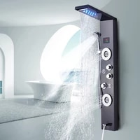 newly luxury blackbrushed bathroom shower faucet led shower panel column bathtub mixer tap with hand shower temperature screen