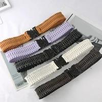 new women waistband buckle elastic wide belt fahion buckle cummerbund female solid color pleated strap dress decor waistband