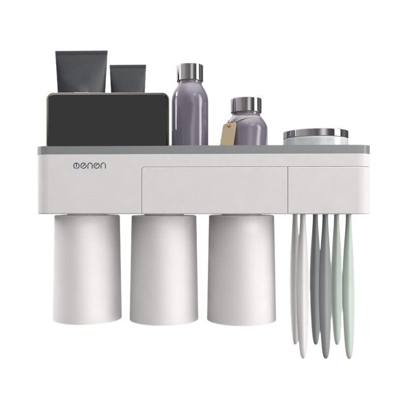 شنت الجدار لكمة خالية مع netic شفط الرف فرشاة الأسنان معجون الأسنان غسل مجموعة الحمام منشفة تخزين الرف