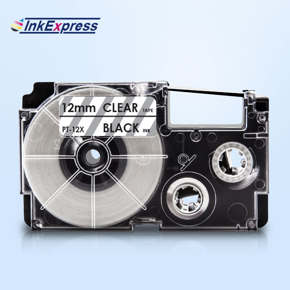Inkexpress 12mm XR-12X fita para casio xr 12x etiqueta fita preta em fita clara impressora para fabricante de etiquetas casio KL-100 KL-120