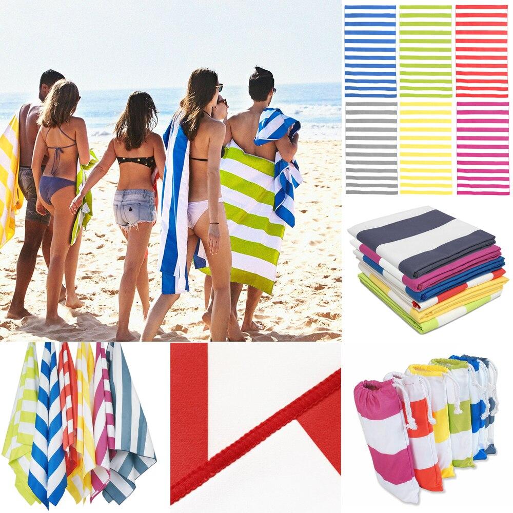 Impresso listrado microfibra toalha de praia de secagem rápida toalha de viagem absorvente praia towels170x90cm/66.9x35.4 Polegada