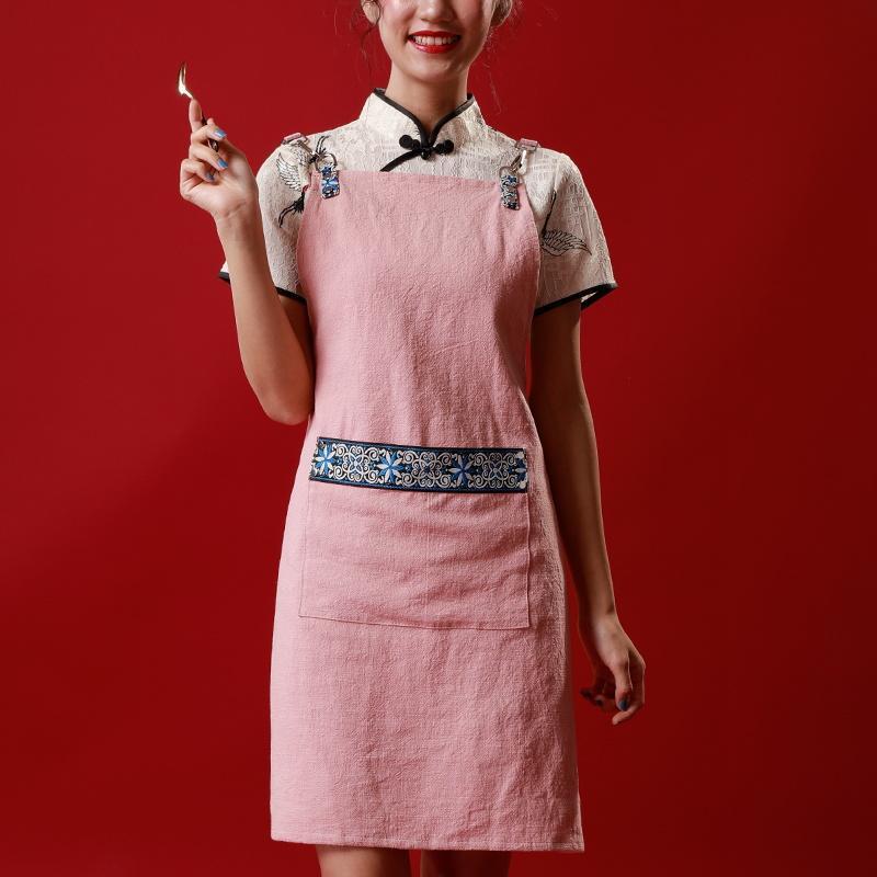 Delantal de Cocina Profesional, mandil chino de algodón sin mangas, Retro, étnico, para Navidad, artículos para el hogar