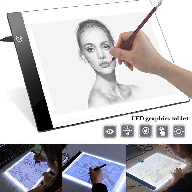 Tablero de dibujo LED A5 ultradelgado alimentado por USB, caja de luz de rastreo de animación, caja de luz, tableta de lona en blanco con atenuación de 3 niveles